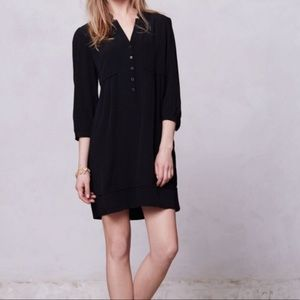 Maeve for Anthropologie solid black shirt dress